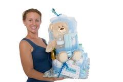 被隔绝的婴孩尿布蛋糕礼物 免版税库存照片
