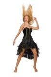 被隔绝的黑晚礼服的金发女孩  免版税库存图片