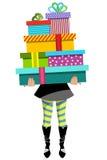 被隔绝的购物妇女运载的堆礼物礼物 免版税图库摄影