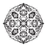 被隔绝的黑白圆的花摘要 免版税库存照片