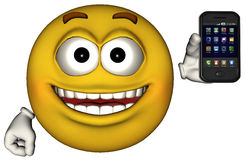 被隔绝的滑稽的兴高采烈的面孔智能手机 免版税库存图片