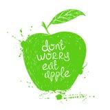 被隔绝的绿色苹果剪影的例证 免版税库存图片