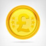 被隔绝的1英镑硬币金黄货币对象 免版税库存图片
