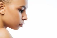被集中的年轻黑人似妇女表达柔软用演播室 免版税图库摄影