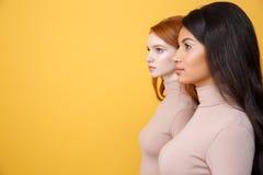 被集中的年轻人的侧视图图象两个夫人 免版税库存图片