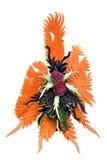 被雕刻的果子和蔬菜表焦点 库存照片