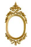被雕刻的框架金子查出的卵形木头 免版税库存照片
