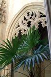 被雕刻的石曲拱是宽容大教堂的内部的片段 免版税库存图片