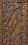 被雕刻的花卉框架木头 图库摄影