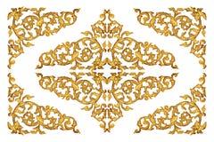 被雕刻的金子木隔绝在白色 库存照片