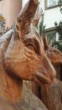 被雕刻的公牛雕塑在圣诞节的科隆 免版税图库摄影