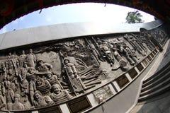 被雕刻的墙壁在山姆poo kong寺庙 免版税库存图片