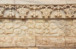 被雕刻的大理石的样式在法泰赫普尔西克里,印度附近的 库存图片