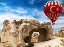 被雕刻的岩石在卡帕多细亚,土耳其 库存图片