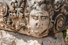 被雕刻的希腊面具 图库摄影