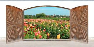 被雕刻的木双门,春天风景 免版税库存照片