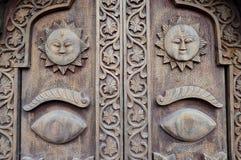 被雕刻的木细节。Patan,尼泊尔 免版税库存图片