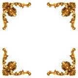 被雕刻的框架的金黄要素 免版税库存照片