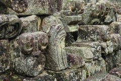 被雕刻的玛雅动物头, Copan,洪都拉斯 免版税库存照片