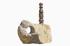 被雕刻的石纪念碑 免版税图库摄影