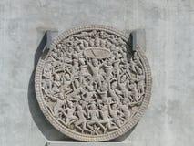 被雕刻的花岗岩石头以圆的形式 免版税库存图片