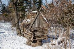 被雪包围住的小屋 免版税库存照片