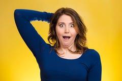 被震惊的妇女,看起来冲击,惊奇 免版税库存照片