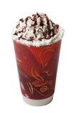 被鞭打的奶油色热的冷的咖啡饮料隔离 库存照片