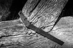 被风化的历史的木粱结构 免版税库存图片