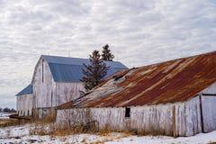 被风化的棚子和谷仓,冬天,威斯康辛 免版税图库摄影