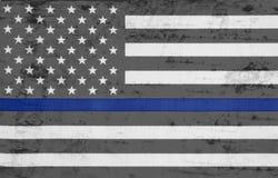 被风化的美国稀薄蓝线旗子 图库摄影