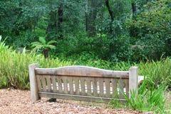 被风化的长凳在Descanso庭院的森林 免版税库存照片