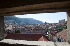 被围住的市Dubrovnic在克罗地亚欧洲 杜布罗夫尼克起绰号亚得里亚的`珍珠 免版税库存照片