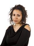 被翻动的头发年轻疯狂的妇女 免版税图库摄影
