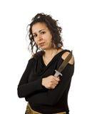 被翻动的头发年轻疯狂的妇女 免版税库存照片
