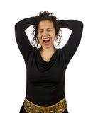 被翻动的头发年轻疯狂的妇女 免版税库存图片