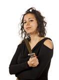 被翻动的头发年轻疯狂的妇女 图库摄影