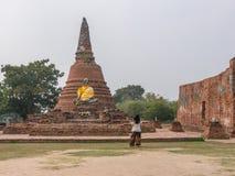 被破坏的佛教寺庙 免版税库存照片