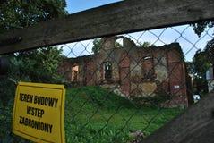 被破坏的城堡老 库存图片