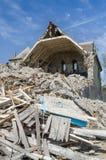 被破坏的大厦,房子的爆破 图库摄影