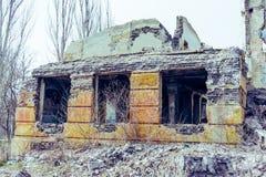 被破坏的教学楼 免版税库存照片