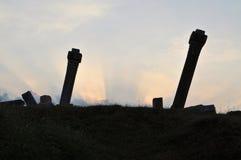 被破坏的柱子在阿努拉德普勒,斯里兰卡 免版税库存照片
