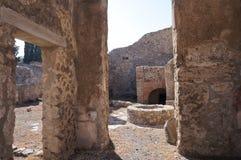 被破坏的罗马城市的细节,庞贝城 库存照片