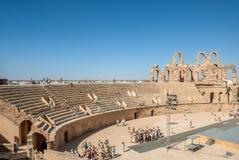 被破坏的罗马斗兽场在突尼斯, El Jem 免版税库存图片