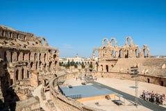 被破坏的罗马斗兽场在突尼斯, El Jem 图库摄影