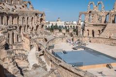 被破坏的罗马斗兽场在突尼斯, El Jem 免版税图库摄影