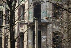 被破坏的老大厦 库存照片