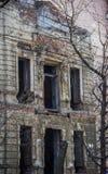 被破坏的老大厦 库存图片