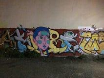 被破坏的街道街道画艺术在墨西哥 图库摄影