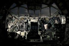 被破坏的飞机的驾驶舱 库存图片